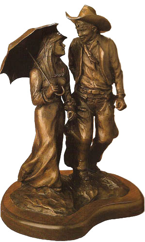 g  harvey - courtin u0026 39  days - bronze sculpture