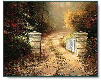 Thomas Kinkade - Autumn Gate - open edition inspirational art print