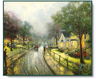 Thomas Kinkade - Hometown Memories - open edition inspirational art print