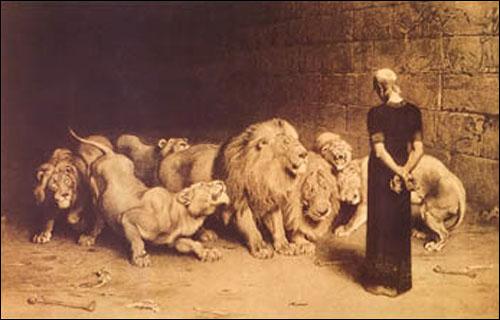 Daniel w jaskini lwów